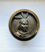 Rare Antique Brass Door Knobs Three Feathered Indian Fraternal - Collectible