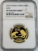 2003 Gold South Africa 50 Rand Natura Lion Ngc Proof 70 Ultra Cameo