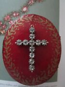 Antique Georgian Gold And Sterling Silver Black Dot Paste Cross Pendant