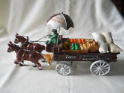 Cast Iron Metal Horse Drawn Fruits And Vegetables Wagon 14 Long