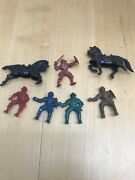 Lot Vtg Plastic Medieval Knights Horses Toy Soldier Figures Lido Weapons