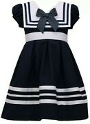 Bonnie Jean Toddlers Girland039s Stripe Trim Nautical/sailor Dress-size-3t Or 4t