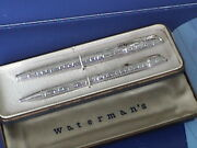 Vintage Waterman's C/f Sterling Silver Fountain And Ball Pen Set