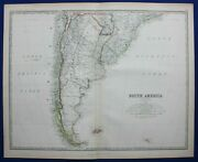 Large Antique Map South America, Chile, Argentina, , Johnston 1886