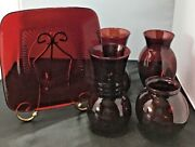 Lot Of 4vintage Anchor Hocking Ruby Red Glass Vases, And 1 Luncheon Plate