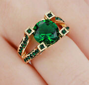 Emerald Cz W/accents-gold Filled Ring Size 6 By Costume Jewelry King