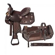 Miniature Western Saddle Only Or Pkg - 8 Seat - Brown - Copper Crystal Conchos