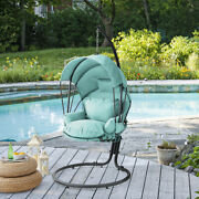Outdoor Hanging Swing Lounge Chair Seat Cushion Canopy Cover With Stand Aqua