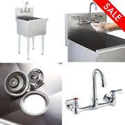 18 X 18 X 13 W/ Faucet Stainless Steel Commercial Utility Sink Bowl Mop Prep