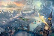 Thomas Kinkade Tinkerbell And Peter Pan Fly To Neverland 12 X 18 Le S/n Unframed