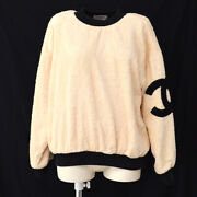 Round Neck Side Cc Long Sleeve Tops Ivory Black Authentic 00705