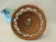 Alaskan Decorated Handwoven Grass 5 Round Basket With An Eagle And Glass Beads