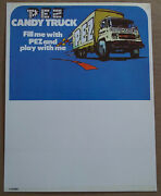 Vintage 1970and039s Pez Truck Header Card From Original No Feet Store Display Box