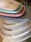 Vintage Tupperware 4 Piece Bowl Set Gray Pink Blue Used Very Little Excellent