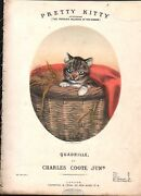 Pretty Kitty 1870 Louisa Corbeaux Cat In A Basket Lithograph Charles Coote