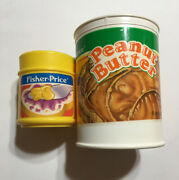 Vintage 1989 2105 2172 Fisher Price Fun With Food 2 Peanut Butter Cans / Jelly
