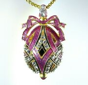 Sterling Silver Rose Guilloché Enamel Faberge Egg Pendant Crystals Gold-plate