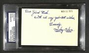 Mickey Cohen Jewish Gangster King Of Los Angeles Signed Autograph 3x5 Psa/dna
