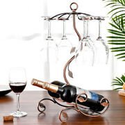 Stand Hanging Glasses Rack Bottle Holder Iron Wire Maple Leaf Hollow Wine Rack