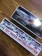 2005 And 2006 Hess Holiday Emegemcy Truck And Helicopter With Toy Truck Great
