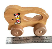 Antique 6andrdquo Mickey Mouse Wooden Pull Toy Cart By Walt Disney Productions As Is