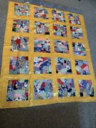 Antique Quilt 1920's Silk/satin Yellow Hand Stitched Square Crazy Pattern 88x76