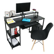 Computer Desk With Monitor Stand And Keyboard Drawer Storage With Shelves Home