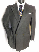 Fantastic Brown /black Houndstooth 100 Cashmere Double Breasted 40r Mad Italy
