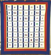Patriotic Usa Army Navy Air Force American Flag Pow Mia Marines Badge Quilt