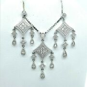 Cool Vintage Style 14k White Gold And Diamond Earring / Pendant Set W/ Box Chain