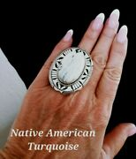 Size 10 Navajo Signed White Buffalo Turquoise And Sterling Silver Ring Elouise Kee