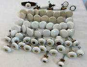 59pc Vintage Porcelain And Brass Cabinet Knob Pull Lot Farmhouse Apothecary Mcm