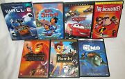 Lot Of 7 Disney Dvd Movies Lion King Lilo Stitch Cars Nemo Bambi Incredibles Wal