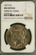 1927 D Peace Dollar Ngc Unc Details Artificial Toning Looks 62 Or Better