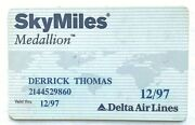 Derrick Thomas Sky Miles Medallion Card For Delta Airlines 1997 Kc Chiefs