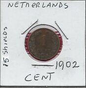 Netherlands Kingdom 1 Cent 1902 Rulerwilhelmina I,crowned Arms With 15 Small Sh