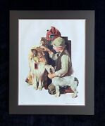 Norman Rockwell Signed Lithograph Raleigh Rockwell Travels Boy With Dogs