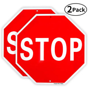 2 Pack Stop Sign Street Slow Warning Reflective Signs 12x 12 40 Mil Rust Free