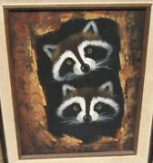Two Raccoons Inside A Tree Original Oil On Canvas Painting Unsigned
