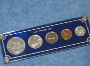 1962 Us Silver Proof Set In Blue Capital Lucite Frosted Franklin Half E1061