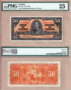 1937 50 Kgvi Bank Of Canada Scarcer Osborne And Towers Bc-26a. Pmg Vf25
