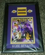 Kobe Bryant Los Angeles Lakers Game Used Warmup Jersey Patch Coa Glass Framed