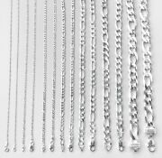 1.4mm-13mm 925 Sterling Silver Figaro Link Chain Men Women 14-30 Italy Made