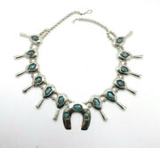 Vintage Native American Silver Turquoise Shadow Box Squash Blossom Necklace 28