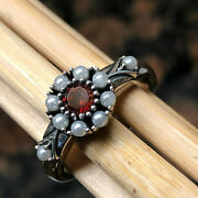 Natural Freshwater Seed Pearl, Bohemian Garnet 925 Solid Sterling Silver Ring 7