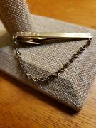 Vintage Hickok Gold Tone Tie Clip Tie Bar With Chain Arrow Design Made In Usa