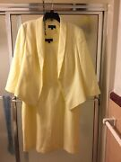 Nwt Emily 2 Piece Light Yellow Gown Suit Long Sleeves Buttons Sz 16 Lined 80