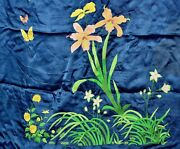 Chinese Silk Embroidery Panel Tablecloth Textile Cover Butterfly Orchid Tassel