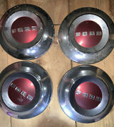"""All Original Ford 1949-53 Crest 15"""" Wheel Covers Center Plates Moon Caps In Box"""