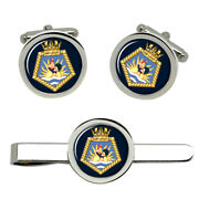 Rfa Fort Langley, Royal Navy Cufflinks And Tie Clip Set